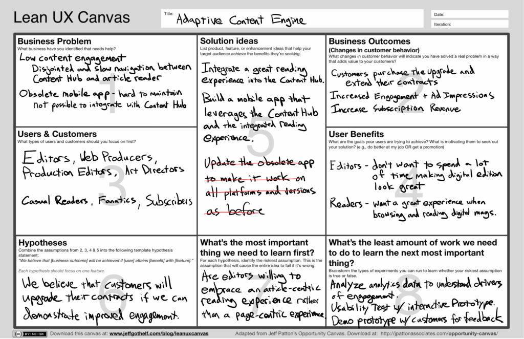 Lean UX Canvas filled out for the ACE project